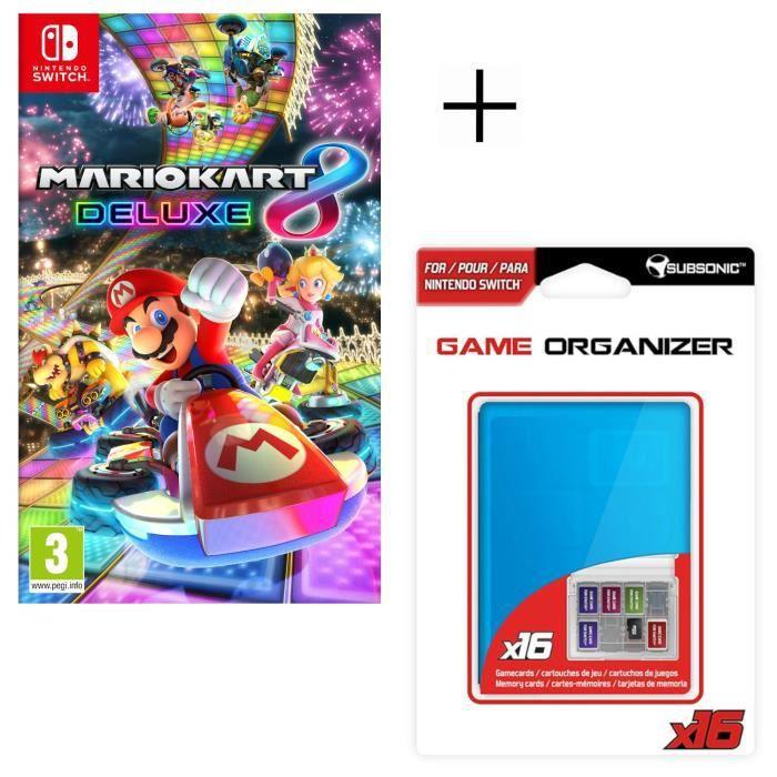 Mario Kart 8 Deluxe Jeu Switch + Boitier de rangement pour jeux et pour carte SD