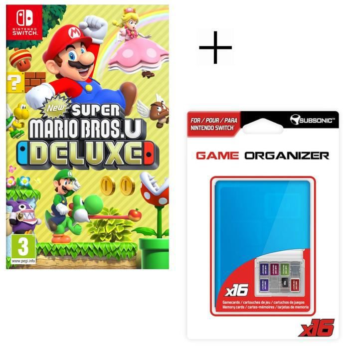 New Super Mario Bros U Deluxe Jeu Switch + Boitier de rangement pour jeux et pour carte SD