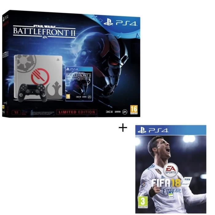Nouvelle PS4 1 To Star Wars Battlefront II Edition Spéciale + Star Wars Battlefront II Edition Deluxe + Fifa 18 Jeu PS4