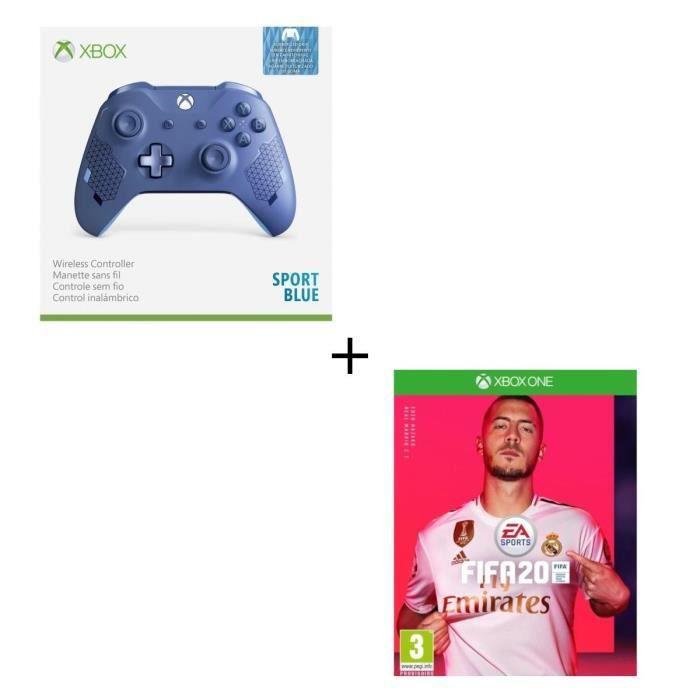 Manette Xbox Sans Fil Edition Spéciale Sport Blue + FIFA 20 Jeu Xbox One