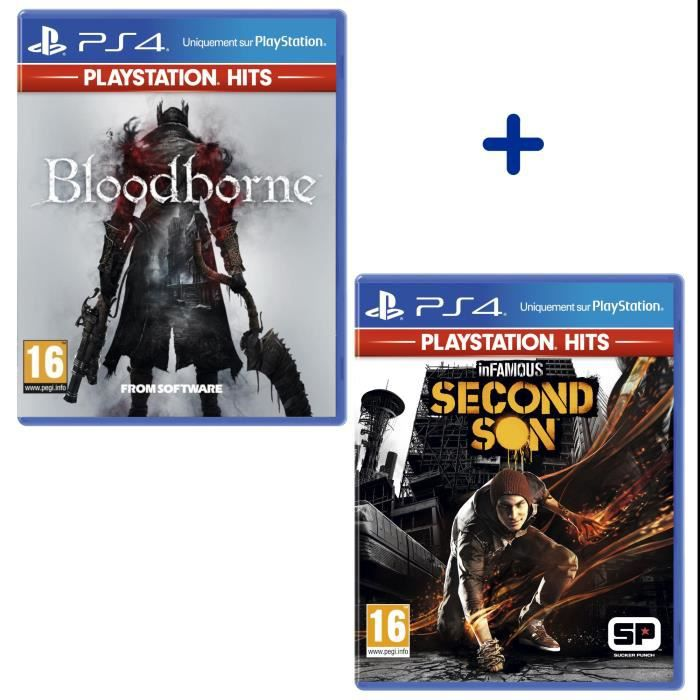 Pack 2 Jeux PS4 PlayStation Hits : Bloodborne + InFamous Second Son