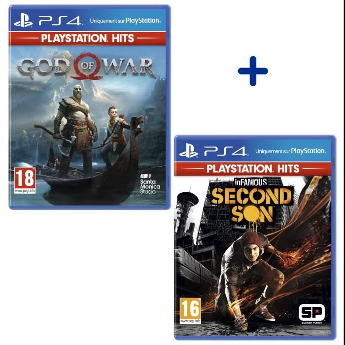 Pack 2 Jeux PS4 PlayStation Hits : God of War + Infamous Second Son
