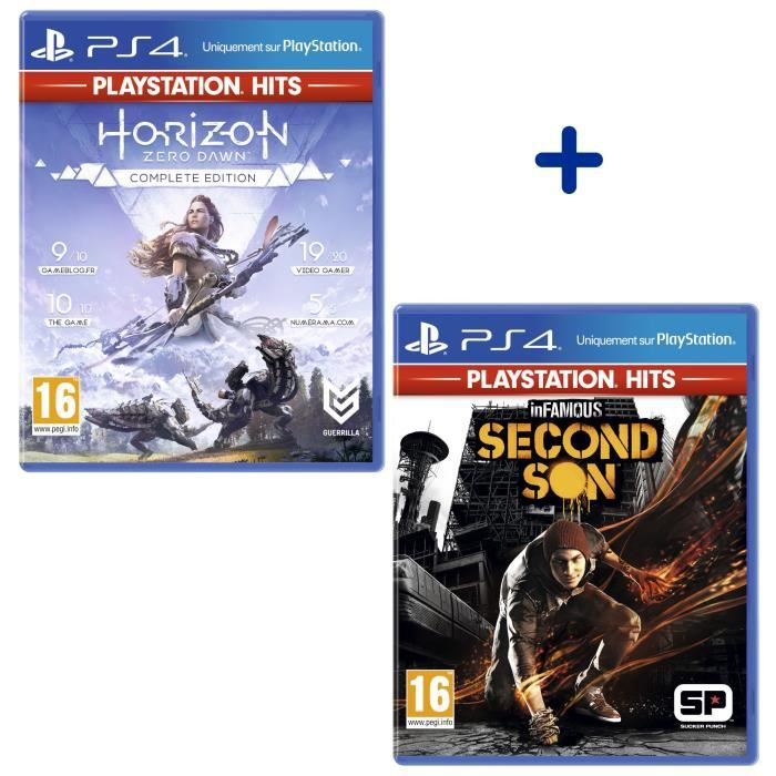 Pack 2 Jeux PS4 PlayStation Hits : Horizon Zero Dawn Complete Edition + Infamous Second Son