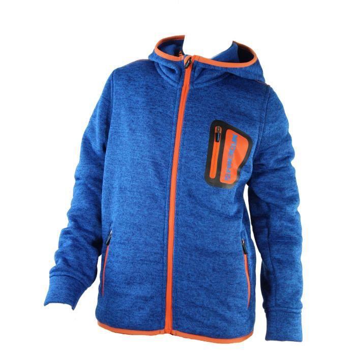 FREEGUN Veste maille avec capuche - Bleu - Enfant Garçon