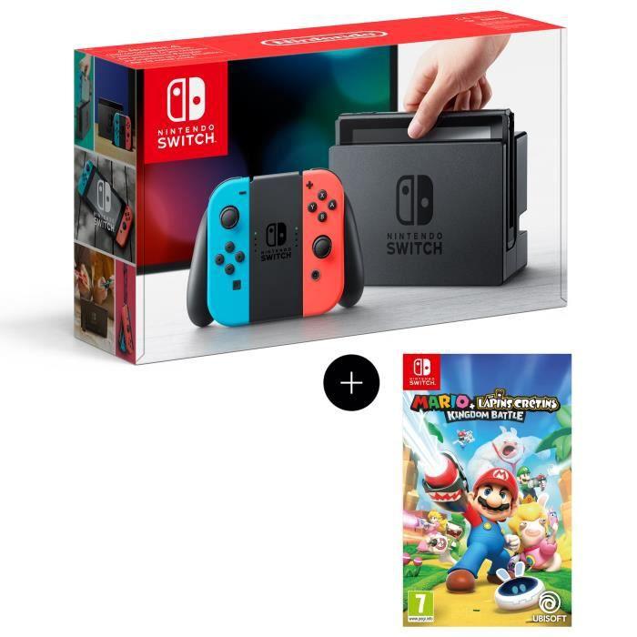 Console Nintendo Switch avec paire de joy-con bleu néon / rouge néon + Mario The Lapins Crétins Kingdom Battle Jeu Switch