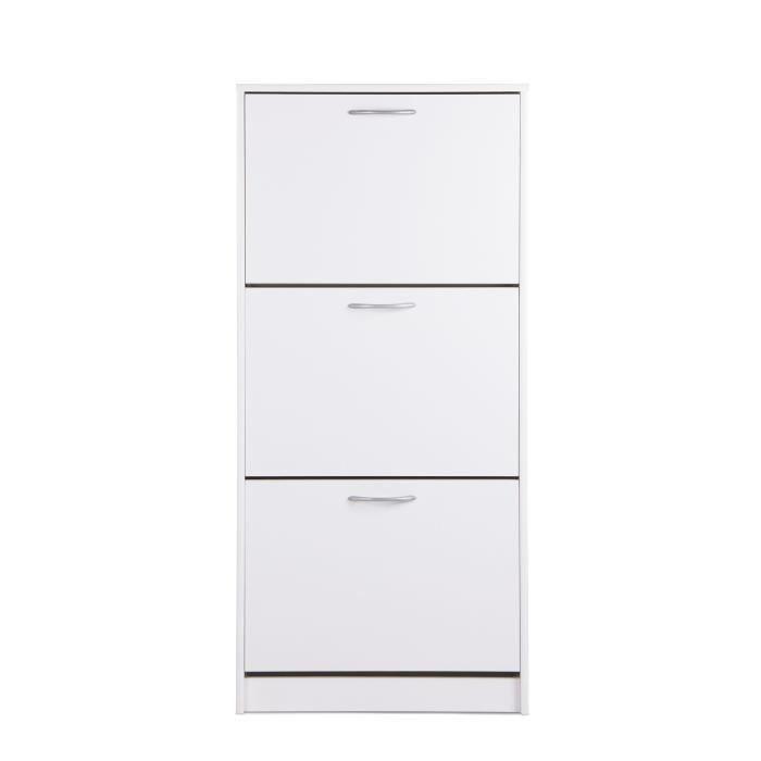 Panneaux de particules blanc - L 58 x P 25 x H 123,5 - 3 abattants - Poignées en plastique finition gris aluMEUBLE A CHAUSSURES