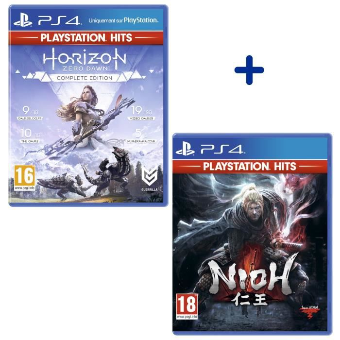 Pack 2 Jeux PS4 PlayStation Hits : Horizon Zero Dawn Complete Edition + Nioh