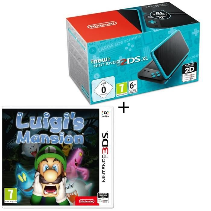 Console new nintendo 2ds xl noire et turquoise luigis mansion jeu 3ds