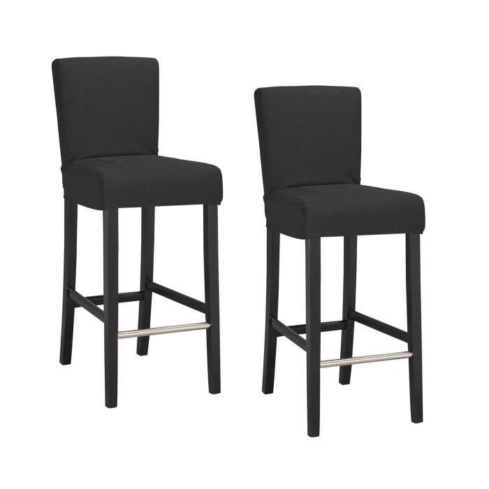 ELVIS Lot de 2 tabourets de bar - Tissu noir - Contemporain - L 39 x P 49,5 cm