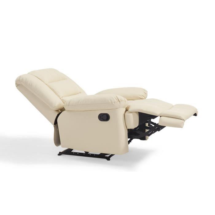 VOLUPTO Fauteuil de relaxation en simili Ivoire - Contemporain - P 85 cm