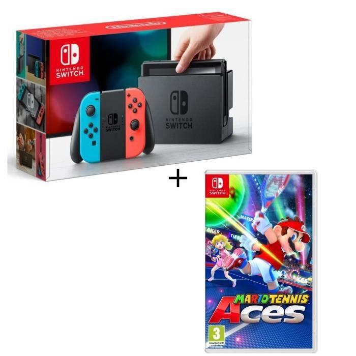 Console Nintendo Switch avec paire de joy-con bleu néon / rouge néon + Mario Tennis Aces