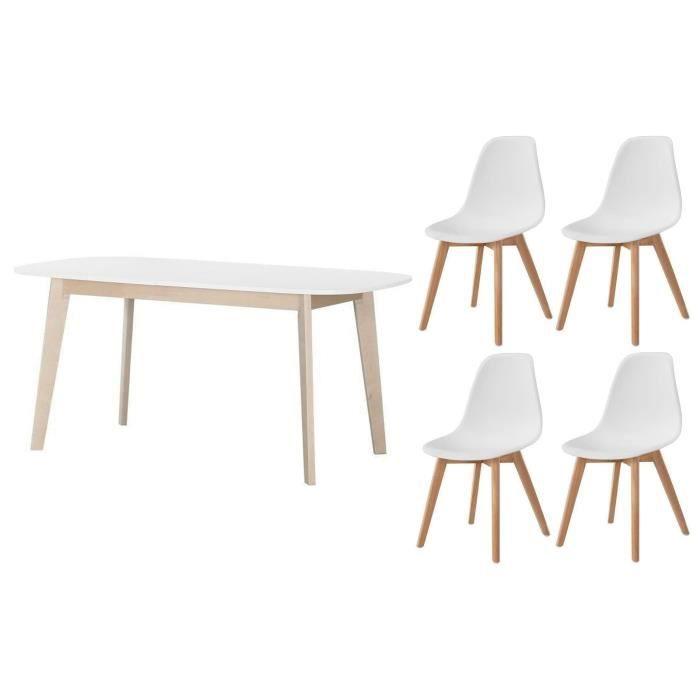 Table à manger extensible de 6 à 8 personnes L 160 - 200 x l 90 x H 75 cm blanc + lot de 4 chaises blancTABLE A MANGER AVEC CHAISES