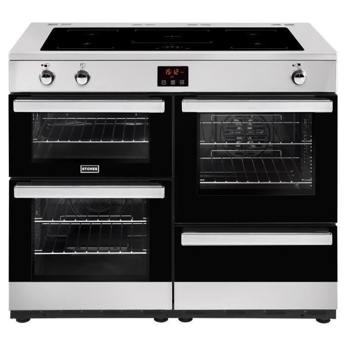 STOVES PCITY110EISS-Cuisinière table de cuisson induction-5 zones-Four électrique-4 cavités-35L-71L-69L-L110 x H92,2 cm-Inox et noir