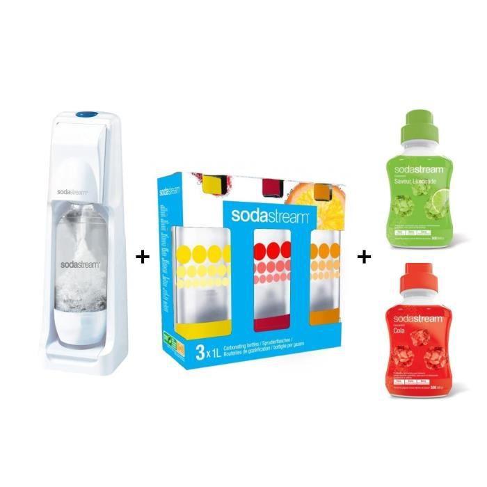 1 machine Cool blanche + 3 bouteilles d'1L + 2 concentrés de 500 ml : Cola et LimonadeGAZEIFICATEUR - MACHINE A SODAS