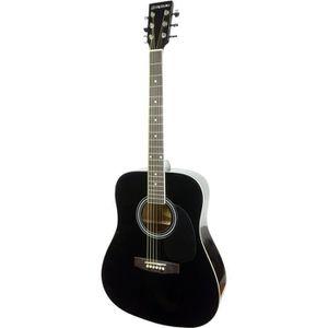 SUZUKI Guitare folk noire avec housse de protection