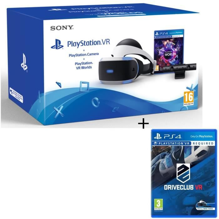 PlayStation VR + PlayStation Caméra + 2 Jeux : VR Worlds + Drive Club VR
