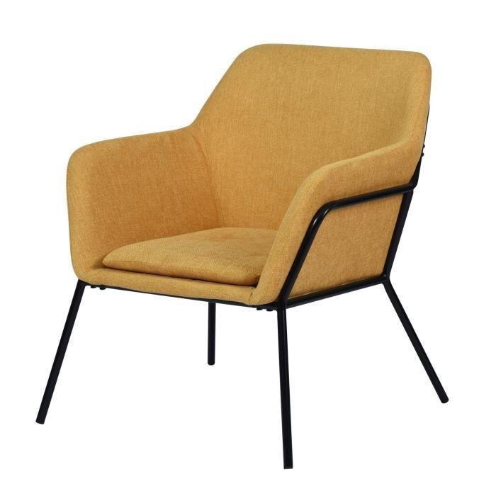 SHAKE Fauteuil style contemporain  - Tissu jaune moutarde - Piétement métallique - L 66 x P 68 x H 8