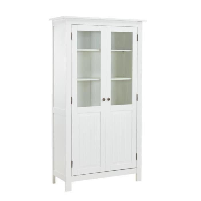 Structure en pin massif laqué blanc et en verre trempé - L 100 x P 40 x H 180 cm - 2 portes et 4 étagèresVITRINE - ARGENTIER - VAISSELIER