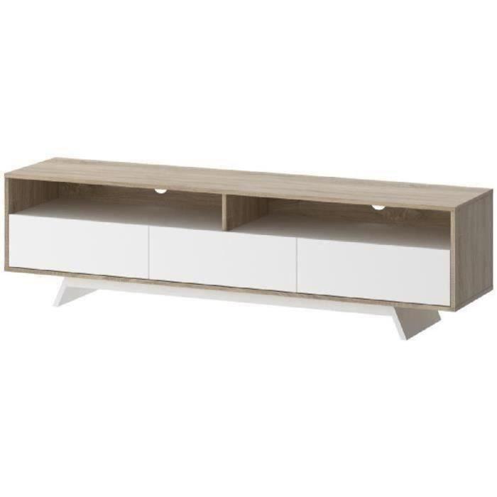 Panneaux de particules décor chêne sonoma et blanc mat - L 173 x P 40 x H 46 cm - 2 niches et 3 tiroirsMEUBLE TV - MEUBLE HI-FI
