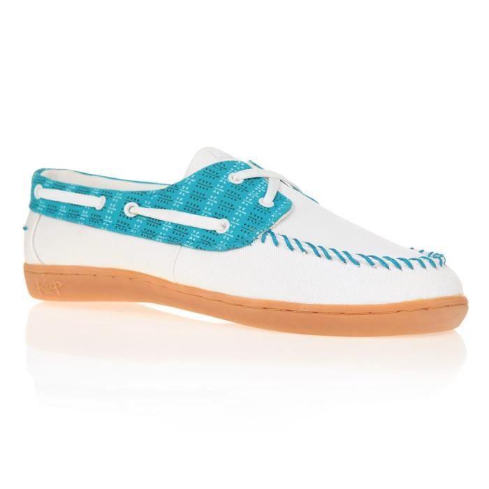 KEEP Chaussures Bateaux Benten - Femme - Blanc et Bleu Turquoise