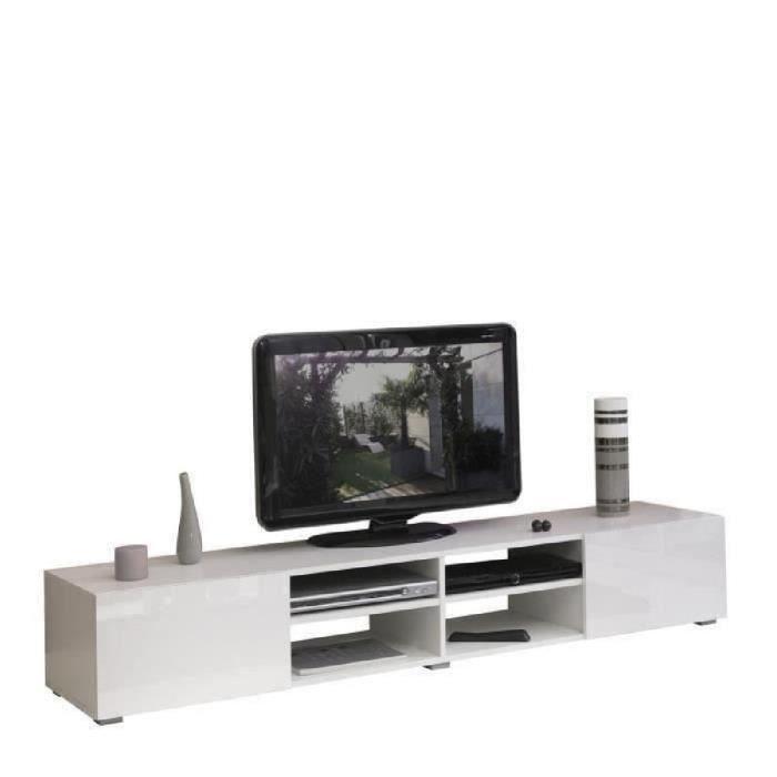 Panneaux de particules blanc brillant et façades laqué blanc - L 185 x P 42 x H 31 cm - 4 niches + 2 portesMEUBLE TV - MEUBLE HI-FI