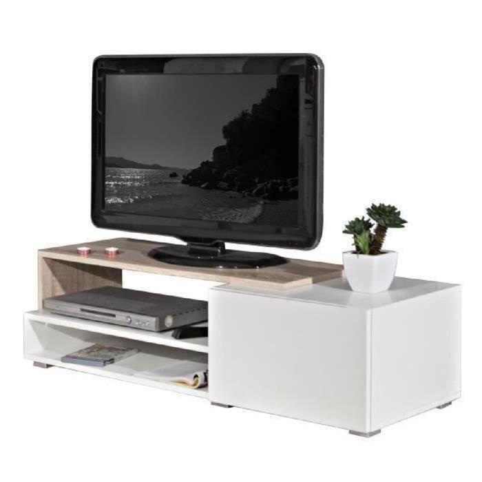 Panneaux de particules mélaminés blanc et décor chêne - L 120 x P 42 x H 32 cm - 1 tiroir et 2 nichesMEUBLE TV - MEUBLE HI-FI