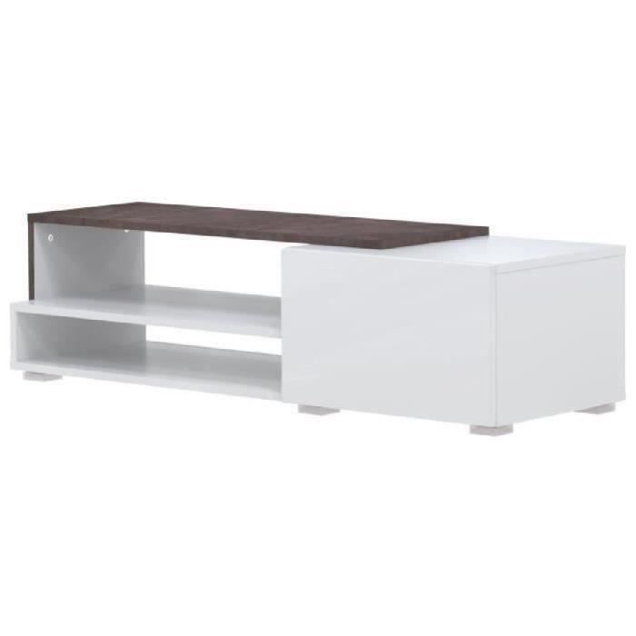 Panneaux de particules mélaminés blanc et effet béton - L 120 x P 42 x H 32 cm - 1 tiroir et 2 nichesMEUBLE TV - MEUBLE HI-FI