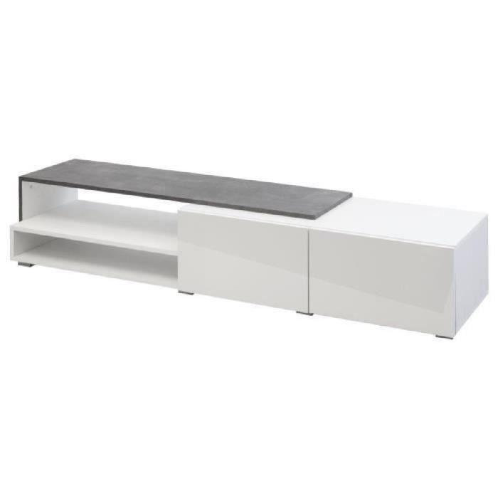 LOGO Meuble TV contemporain mélaminé blanc et effet béton + façades laquées - L 120 cm