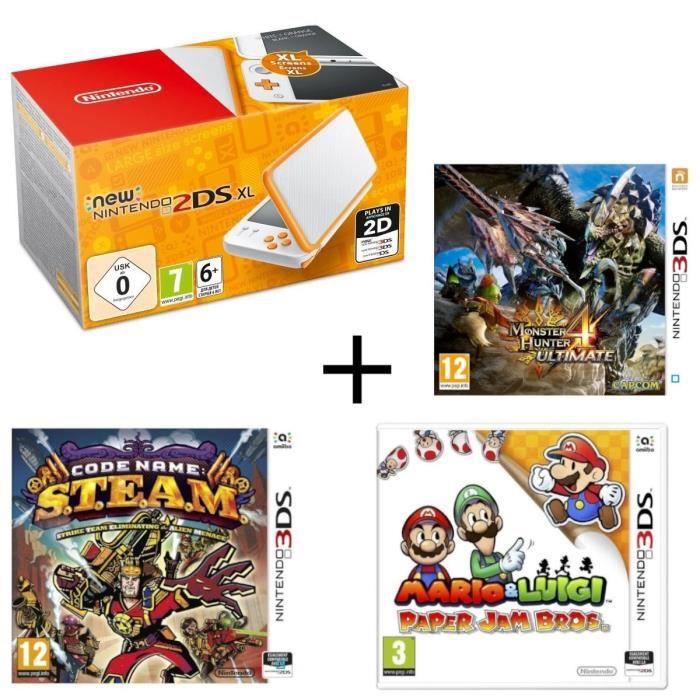 New 2DS XL Blanche et Orange + Monster Hunter 4 Ultimate + Mario & Luigi Paper Jam + Code Name : STEAM