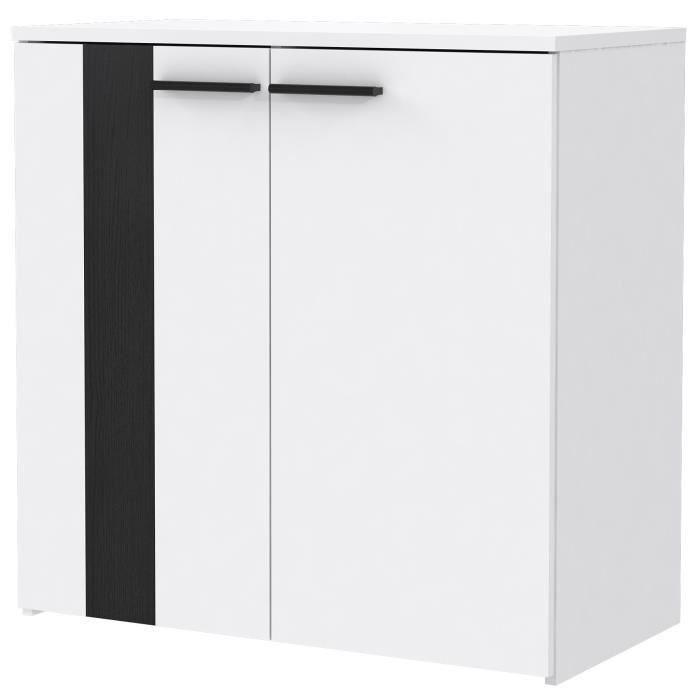 BOUNTY Buffet bas contemporain blanc mat et décor chêne noir - L 80 cm