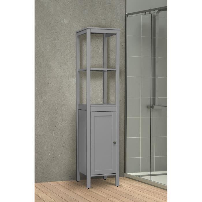 MDF Placage bois pin gris - L 36 x P 34 x H 160 cm - 1 porte, 1 étagèreCOLONNE DE SALLE DE BAIN - ARMOIRE DE SALLE DE BAIN