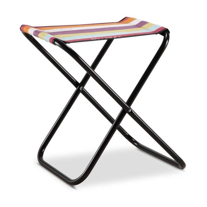 EREDU Tabouret Pliant camping Maxi 521/L - PVC Tissé - Noir et Multicolore