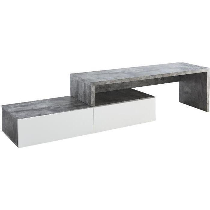 FLOYD Meuble TV extensible contemporain décor béton - L 120 - 233 cm