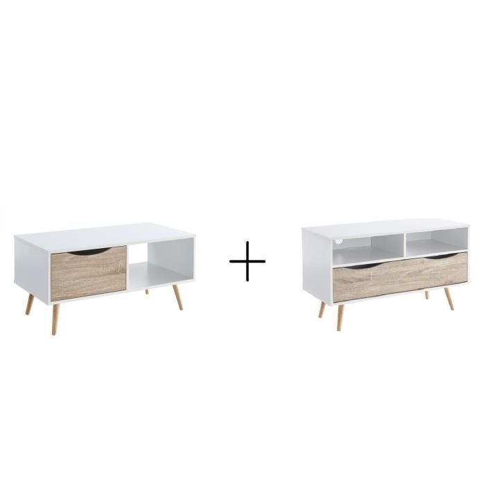 BELA Table basse + Meuble TV - Style scandinave - Décor blanc et chêne - L 90 cm et