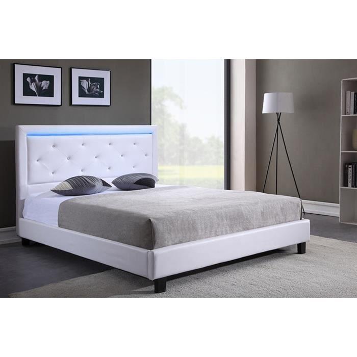 FILIP Lit adulte contemporain simili blanc - Sommier et tête de lit avec LED inclus - l 140 x L 190