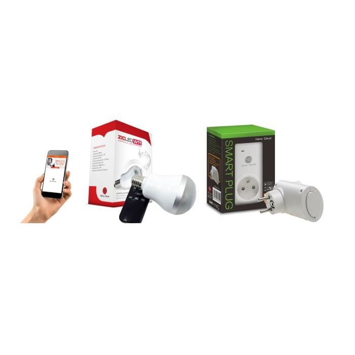 NEW DEAL Pack 1 prise connectée WiFi Speco+ et 1 ampoule musicale ZicLed W11