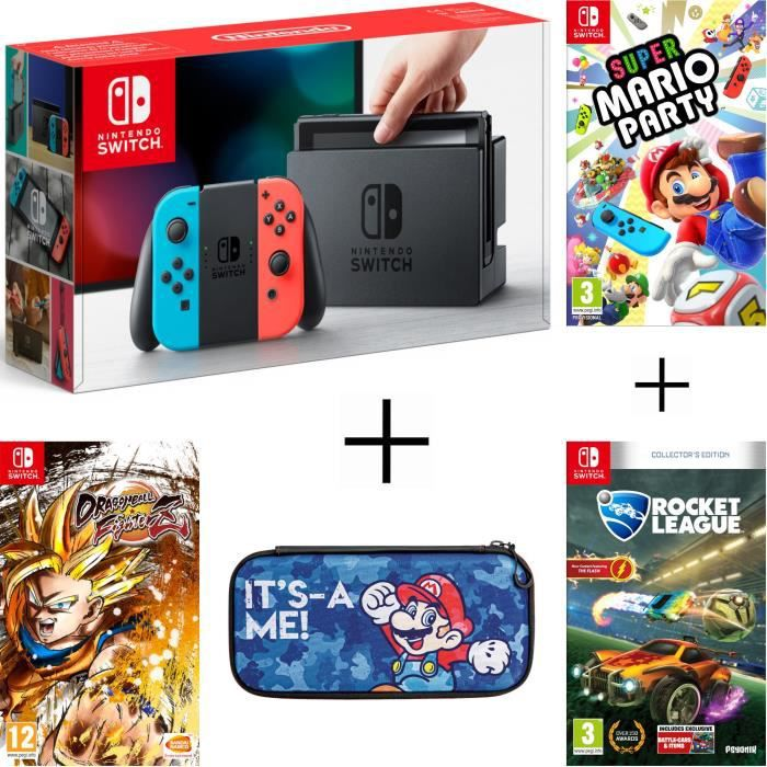 Pack nintendo switch néon dragon ball fighterz code in a box rocket league housse super mario party