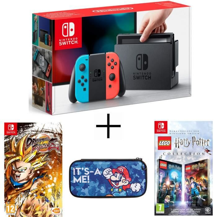 Pack nintendo switch néon dragon ball fighterz code in a box lego harry potter housse