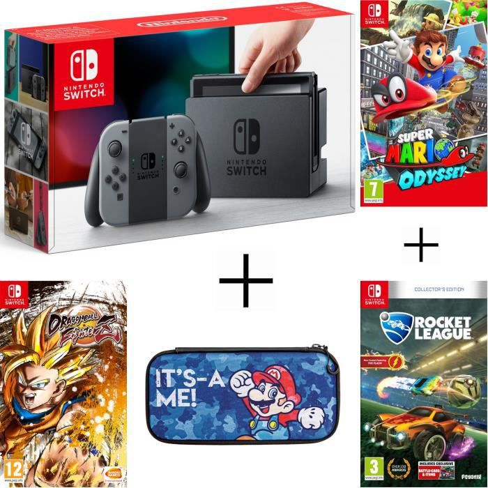 Pack nintendo switch grise dragon ball fighterz code in a box rocket league housse super mario odyssey