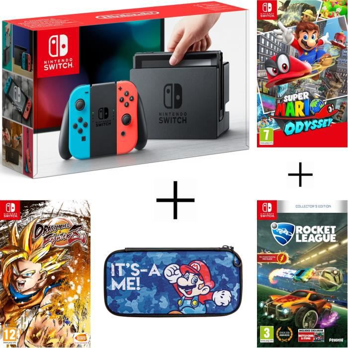 Pack nintendo switch néon dragon ball fighterz code in a box rocket league housse super mario odyssey