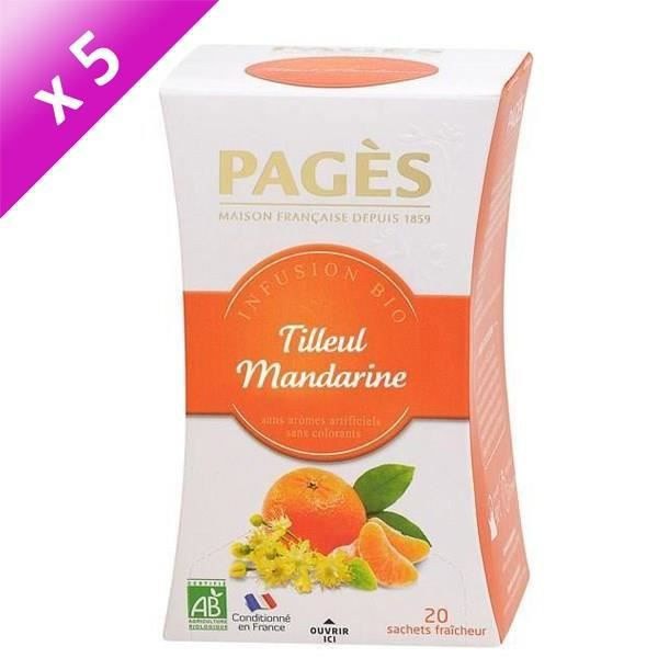 PAGES Lot de 5 Infusions Tilleul Mandarine Bio