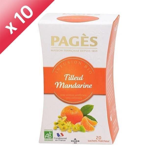 PAGES Lot de 10 Infusions Tilleul Mandarine Bio