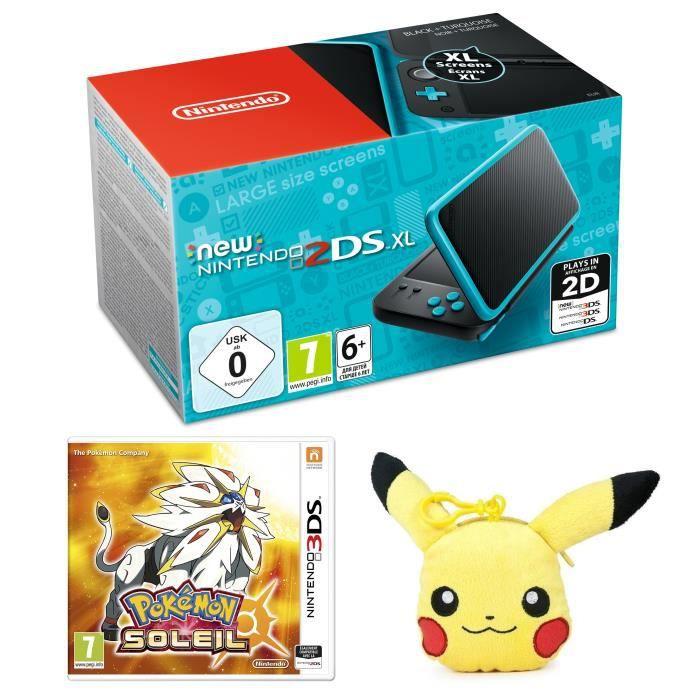 New Nintendo 2DS XL Noire et Turquoise + Pokémon Soleil Jeu 3DS + Porté-Clé Porte-Monnaie Peluche Pikachu