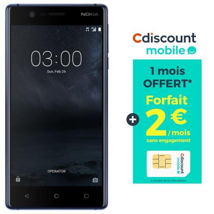 Nokia 3 Bleu Nuit + Carte SIM Cdiscount Mobile