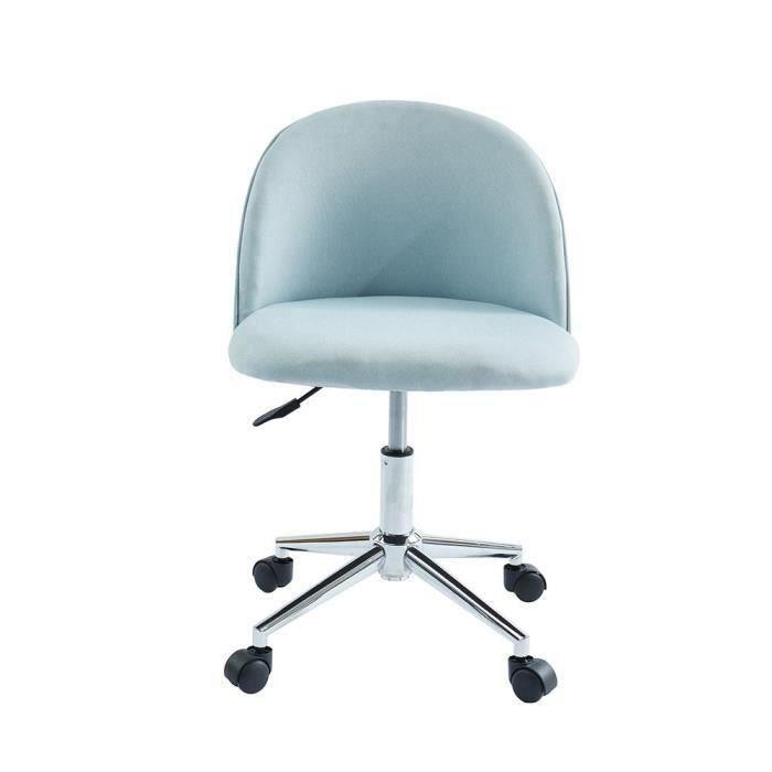 MACARON Chaise de bureau - Tissu bleu pastel - Classique - L 49 x P 49 cm