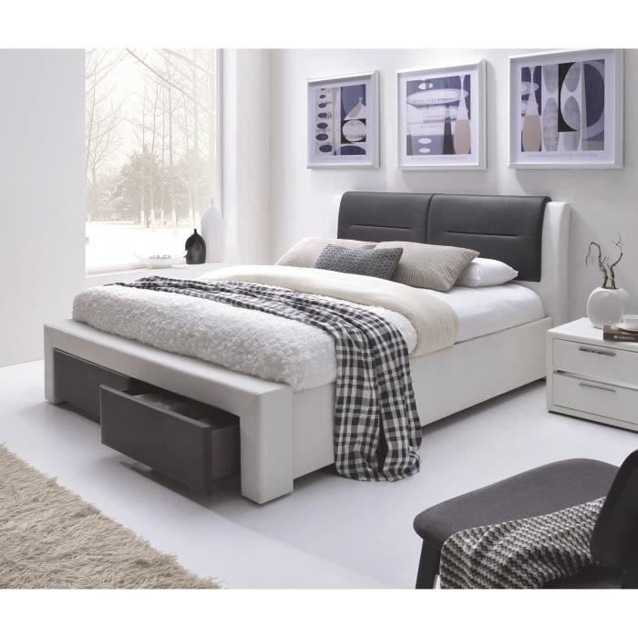 Panneaux de particules - Noir et blanc - l 180 x L 200 cm x H100 cm - 2 tiroirs - Tête de lit rembourrée - SommierSTRUCTURE DE LIT