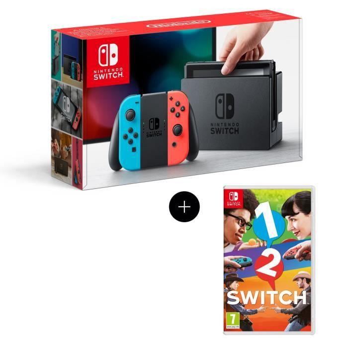 Console Nintendo Switch + Paire de Joy-Con rouge et bleu + Jeu 1-2-Switch
