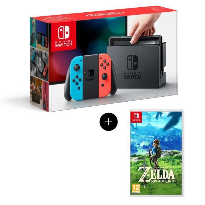 Console Nintendo Switch + Paire de Joy-Con rouge et bleu + Jeu The Legend of Zelda: Breath of the Wild