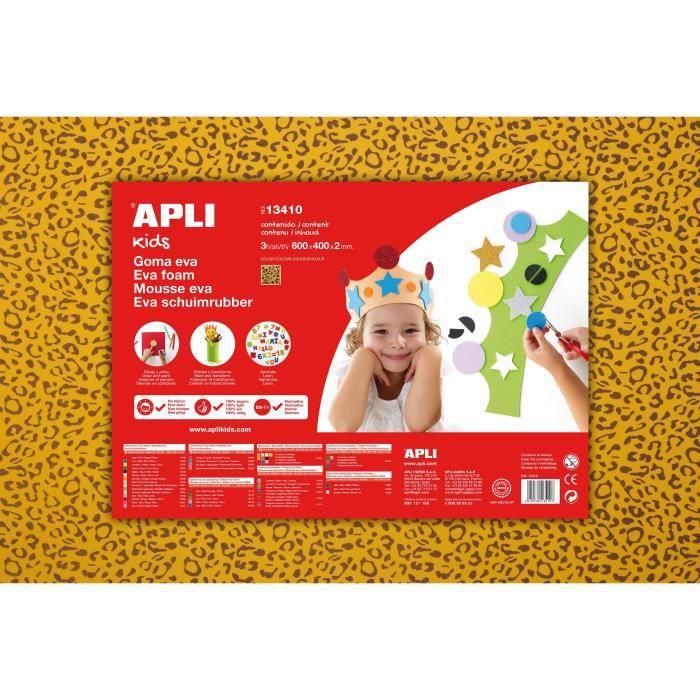 APLI 3 feuilles de mousse - Léopard