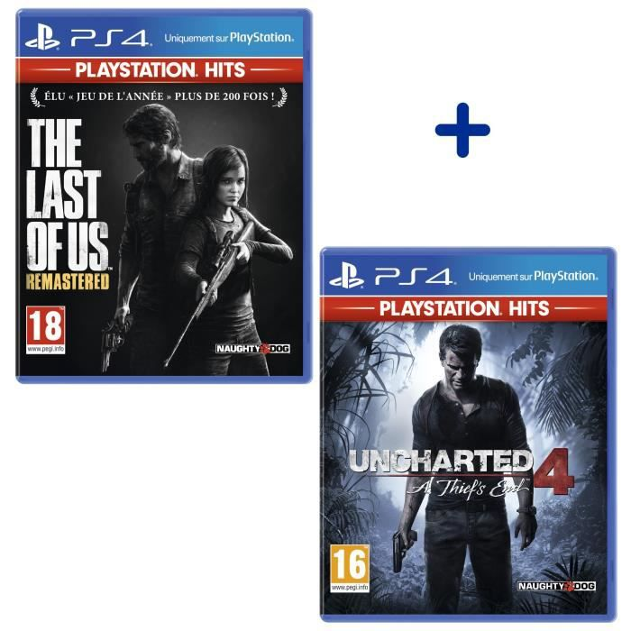 Pack 2 Jeux PS4 PlayStation Hits : The Last Of Us Remastered + Uncharted 4: A Thief's End